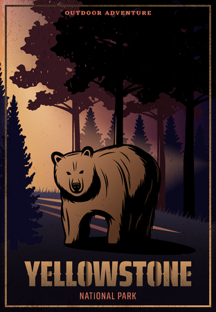 Vintage colored Yellowstone national park poster with inscription and bear on forest landscape vector illustration