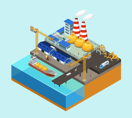 Isometric gas offshore industry concept with tanker cranes storage workers truck pipelines on stationary platform isolated vector illustration