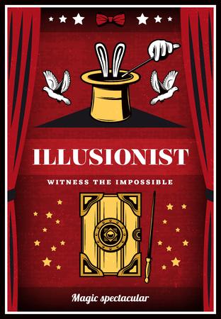 Vintage color cartel de ilusión mágica con conejo en sombrero palomas varitas mágicas guante e ilustración de vector seguro.