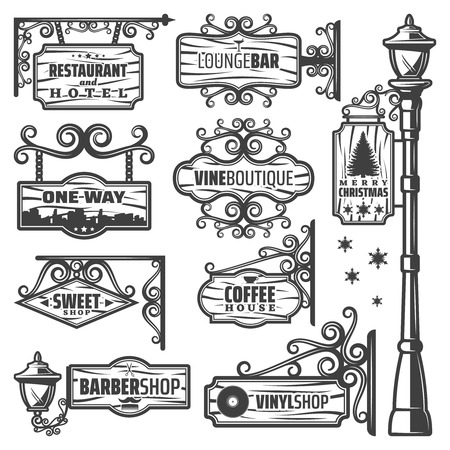 Vintage street lanterns labels set with metal pole inscriptions on wooden sign boards and planks, isolated vector illustration