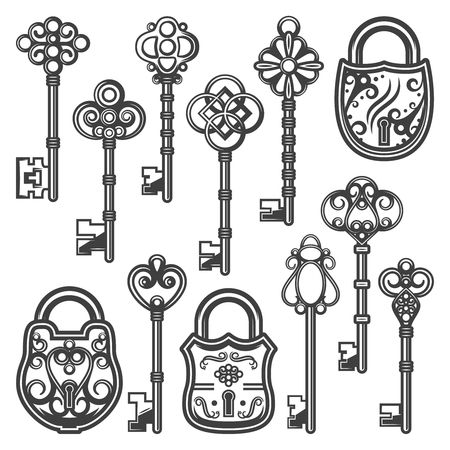 Vintage ornamental keys and locks collection of antique and medieval design isolated vector illustration. Illustration