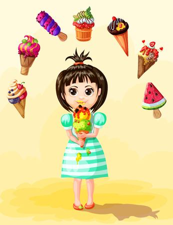 Cute girl eating ice cream template with different types of fruit icecreams in cartoon style vector illustration