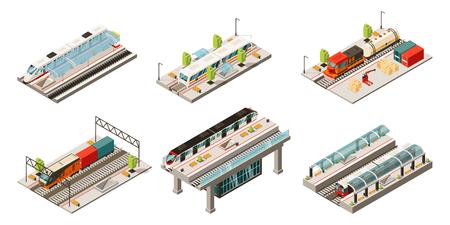 Colección de transporte ferroviario moderno isométrico con locomotora de mercancías y trenes de pasajeros aislados ilustración vectorial