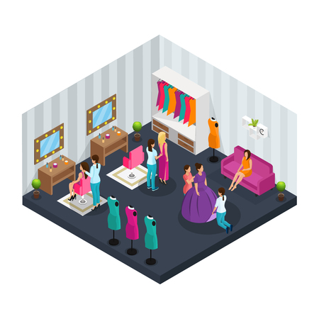 Isometric makeup room concept with dressers dressing actors for film shooting vector illustration Stock Illustratie