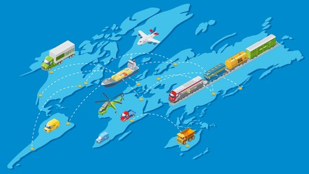 Isometric global logistic transportation network with air water land and railway vehicles on world map. Isolated vector illustration.