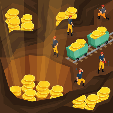 Isometric mining industry concept with miners working in mine and extracting gold coins symbolising resources vector illustration