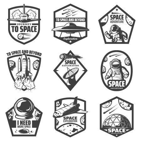 Vintage space labels set collection Illustration