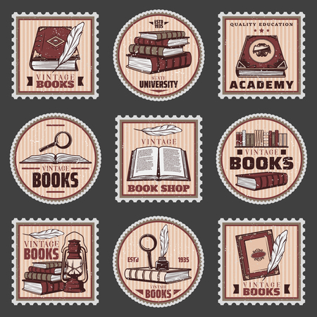 Colored education and bookstore stamps set with different books magnifier feather inkwell lantern in vintage style isolated vector illustration