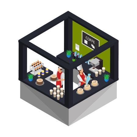 Isometric confectionery shop concept with workers cooking and serving desserts cakes and sweet products isolated vector illustration