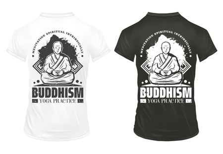 Vintage Buddhism prints on shirts template with inscriptions and monk meditating and practicing yoga.