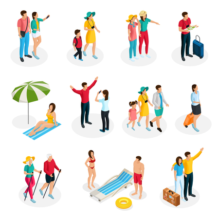 Isometric travelers characters set with tourists and family on summer vacation in different situations isolated vector illustration