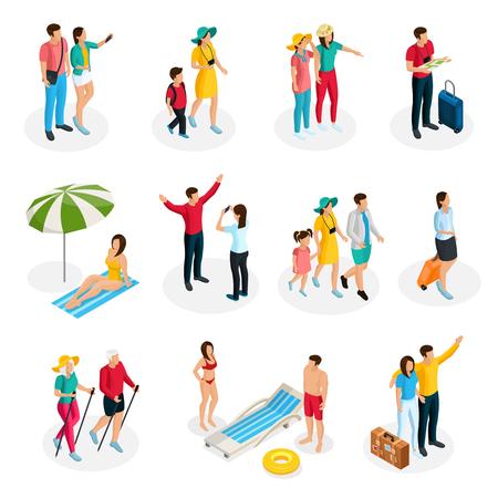I caratteri isometrici dei viaggiatori messi con i turisti e la famiglia sulle vacanze estive nelle situazioni differenti hanno isolato l'illustrazione di vettore Vettoriali