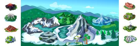 Fond de paysage de nature colorée avec de belles montagnes enneigées volcans arbres collines différentes roches et pics illustration vectorielle