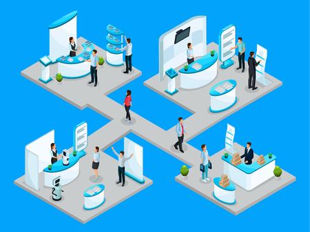 Isometrisches expocenter Konzept mit den Firmen, die ihre Produkte unter Verwendung der fördernden Stände und der Demonstrationsausrüstung annoncieren, lokalisierte Vektorillustration Vektorgrafik