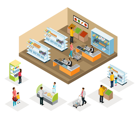 Isometric supermarket concept with people choosing vegetables food products drinks interior elements and cashier vector illustration