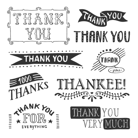 Thank you lettering set with ribbons and thank you very much thank you for everything descriptions vector illustration