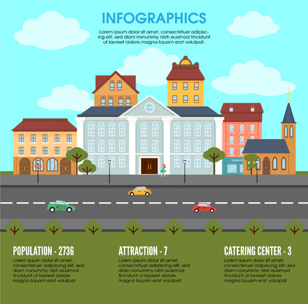 Old town landscape elements infographic concept with municipal and living buildings trees and moving cars vector illustration Illustration