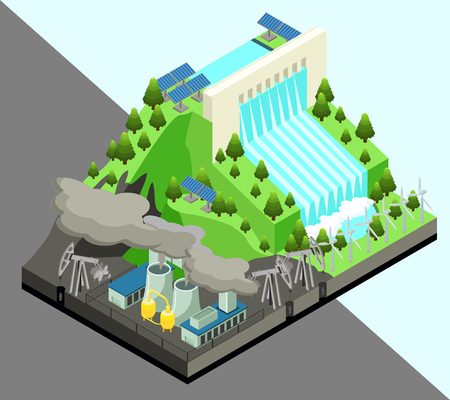 Isometric alternative energy production concept with windmills nuclear power plant and hydroelectric station isolated vector illustration Illustration