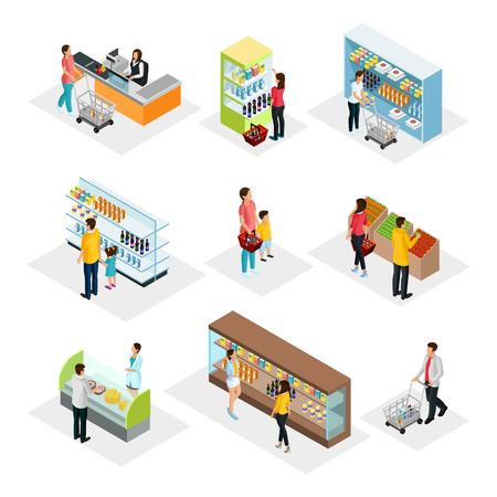 Isometric people in grocery shop set with customers choosing and buying different products isolated vector illustration