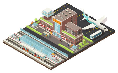 Isometric airport and metro station concept with buildings plane bus walking people train underground platform vector illustration
