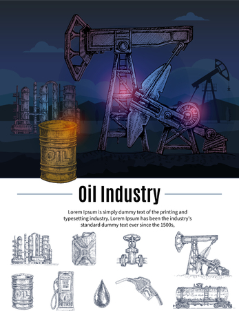Hand drawn concept with oil industry colorful composition isolated monochromatic storage transportation elements and editable text vector illustration