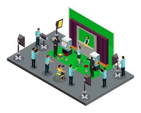Concept de processus de tournage isométrique avec des illuminateurs et des acteurs réalisateurs faisant la scène de vol d'illustration vectorielle de film