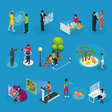 Isometric modern innovative technology set with people using virtual reality mask in different situations isolated vector illustration