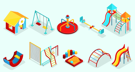 Isometric playground elements set with sandbox recreational swings carousels slides sport sections and attractions isolated vector illustration