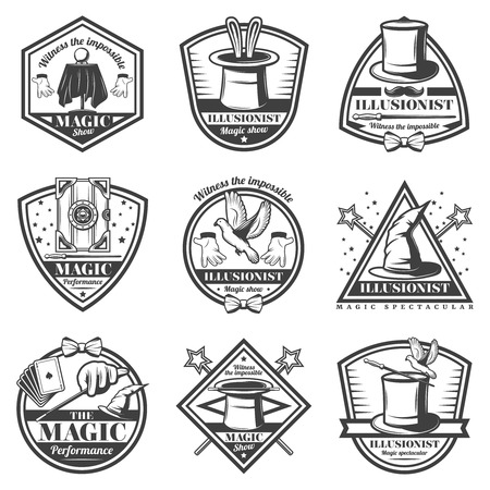 Vintage monochrome magic show labels set with inscriptions animals equipment tools for tricks and illusions isolated vector illustration Illustration