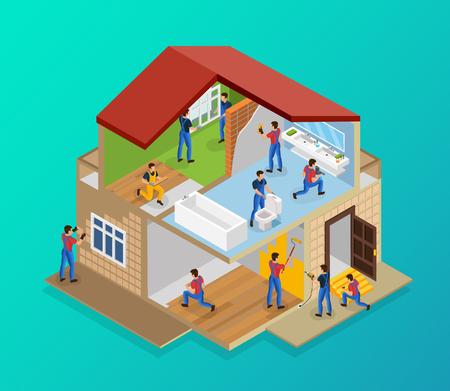 Isometrische Hausrenovierungsschablone mit Arbeitern, die Fliesenboden-Laminatlackierwände verlegen, die Schwelle reparieren, die Fensterinstallationsvektorillustration installiert