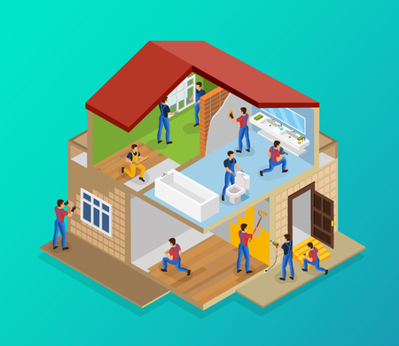 Plantilla de renovación de la casa isométrica con trabajadores que colocan baldosas, pisos, paredes de pintura laminada, reparación de umbral, instalación de ventanas, plomería, ilustración vectorial