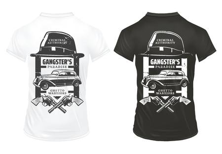 Vintage gangster prints template on shirts with inscriptions hat crossed revolvers mafia classic retro car isolated vector illustration