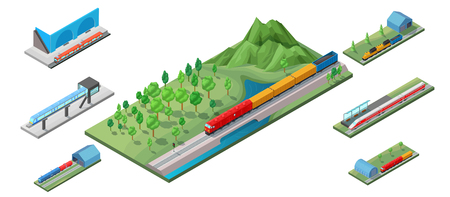 Isometric railway transport concept with cargo freight high speed passenger trains locomotive and subway isolated vector illustration.