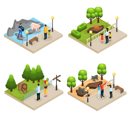 Isometric zoo concept with parents children watching kangaroo rhinoceros polar and gray bears isolated vector illustration Illustration