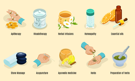 Isometric alternative medicine elements set with aritherapy hirudotherapy herbs homeopathy oils stone massage acupuncture ayurvedic treatment isolated vector illustration Illustration