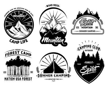 Outdoor camping labels set with mountains forest and tent in vintage style isolated vector illustration