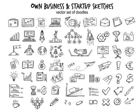 Szkic kolekcji elementów uruchamiania biznesu z doodle ikony finansowe narzędzia obiektów i sprzętu na białym tle ilustracji wektorowych.