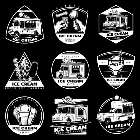 Vintage sweet products labels set with letterings ice creams sundae delivery transport on black background isolated vector illustration Illustration