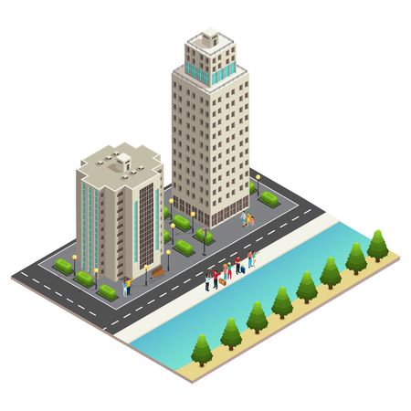 Isometric travel concept with happy tourists standing on riverside in modern city isolated vector illustration Illustration