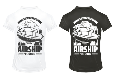 Vintage airship prints on shirts template with inscription and digirible flying over city isolated vector illustration