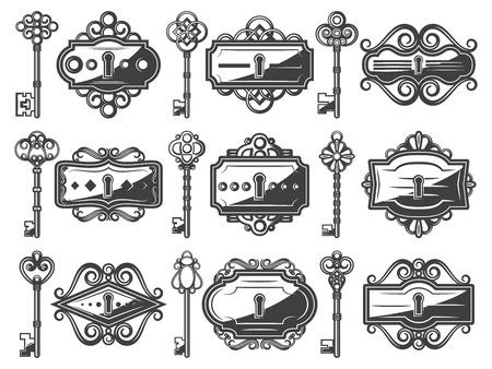 Antique metal keyholes set with ornamental old keys in vintage style isolated vector illustration Иллюстрация