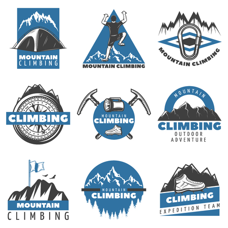Vintage colored mountain climbing labels set with inscriptions tent climber equipment tools nature landscape isolated vector illustration.