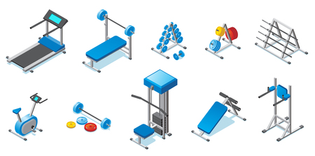 Isometric fitness equipment collection vector illustration set Ilustracja