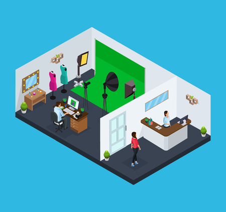 Isometric studio concept vector illustration  イラスト・ベクター素材