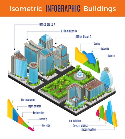 Isometric modern city infographic concept with different office buildings park helipads and graphs vector illustration Ilustrace