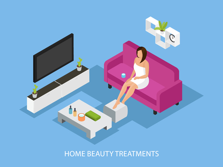 Isometric home skincare procedure concept with woman in towel sitting on sofa and spread cream on her legs vector illustration