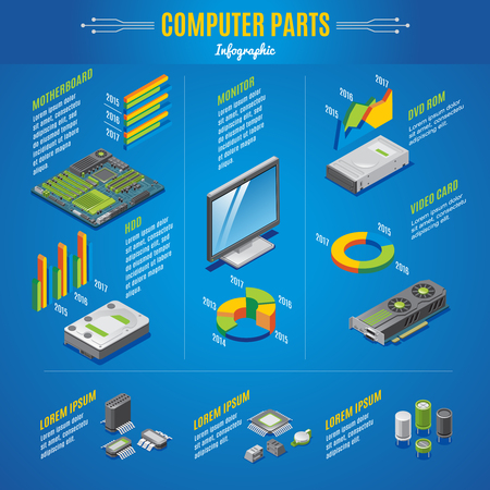 Isometric computer parts infographic concept with monitor motherboard video card drives diodes transistors microchips isolated vector illustration