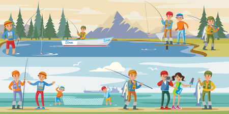 Outdoor activity horizontal banners with people fishing on lake and reporters interview fisherman catching big fish vector illustration Иллюстрация