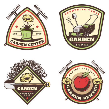 Vintage colored gardening emblems set with flowers pot rake lawm mower shovel apple tree pitchfork isolated vector illustration Illustration