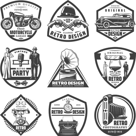 Vintage retro labels set with motorcycle Stock Illustratie